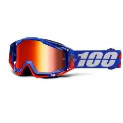 100% okuliare Racecraft MX MTB Republic červené zrkadlové + číre sklá/chránič nosu/20 strhávačiek
