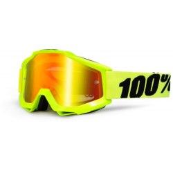 100% detské okuliare Accuri MX MTB Fluo Yellow červené zrkadlové sklá