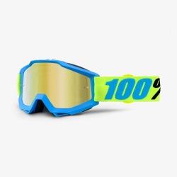 100% okuliare Accuri MX MTB Invaders - zlaté zrkadlové + číre sklá