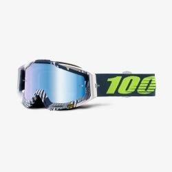 100% okuliare Racecraft MX MTB Eclipse - modré zrkadlové + číre sklá - chránič nosu - 20 strhávačiek 2018