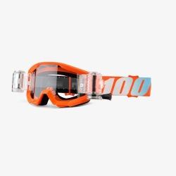 100% detské okuliare Strata MX MTB Roll off Neon Yellow - číre sklá