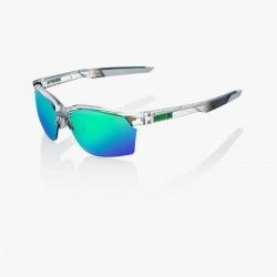 100% cyklistické okuliare Sportcoupe Polished Translucent Crystal Grey zelené zrkadlové sklá