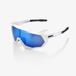 100% cyklistické okuliare Speedtrap Matte White HiPer modré zrkadlové sklá