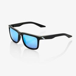 100% slnečné okuliare Blake Matte Black HiPer modré zrkadlové sklá