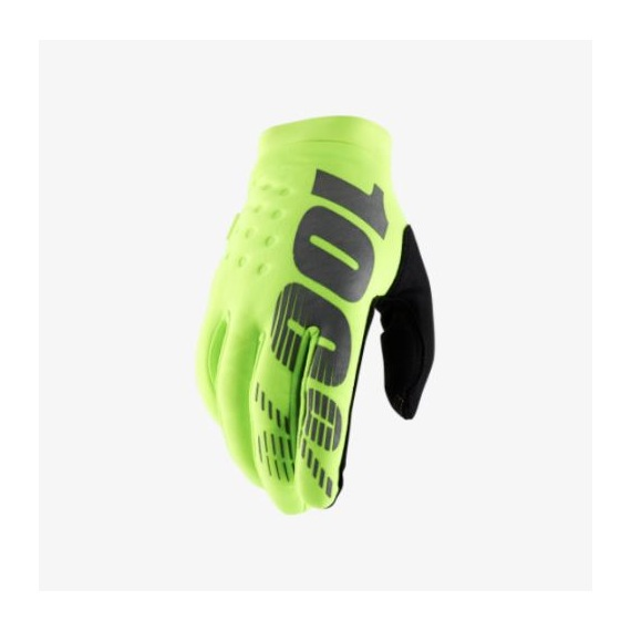 100% rukavice Brisker Fluo Yellow