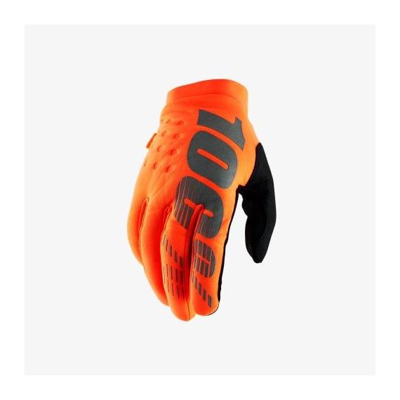 100% rukavice Brisker Fluo Orange/Black 2019