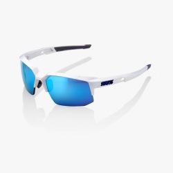 100% cyklistické slnečné okuliare Speedcoupe Matte White HiPer modré zrkadlové sklá