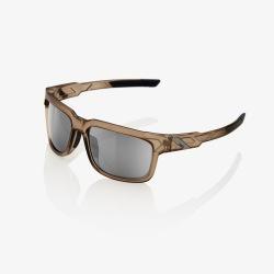 100% slnečné okuliare Type-S MATTE TRANSLUCENT CRYSTAL SEPIA HiPER strieborné zrkadlové sklá