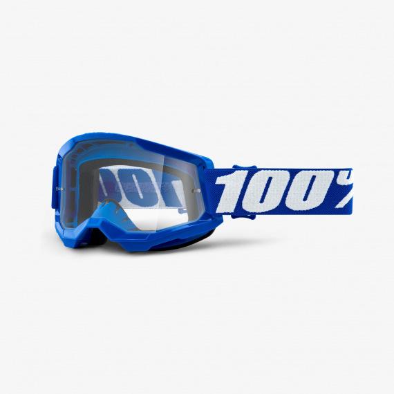 100% okuliare Strata 2 MX MTB Blue číre sklá