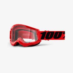 100% okuliare Strata 2 MX MTB Red číre sklá