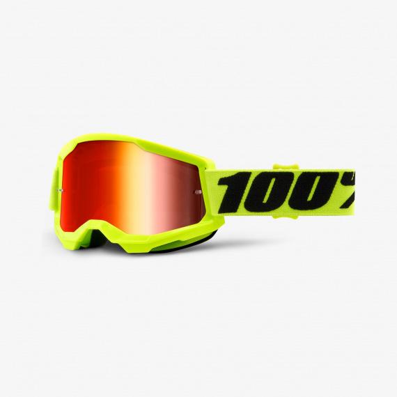 100% okuliare Strata 2 MX MTB Red červené zrkadlové sklá