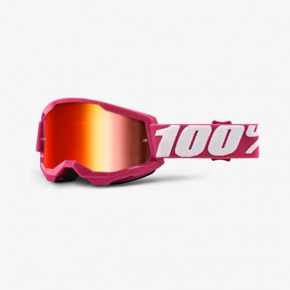 100% okuliare Strata 2 MX MTB Yellow červené zrkadlové sklá