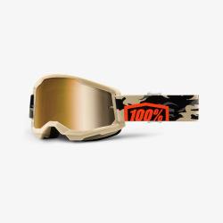 100% okuliare Strata 2 MX MTB Kombat zlaté zrkadlové sklá