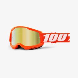 100% okuliare Strata 2 MX MTB Orange zlaté zrkadlové sklá