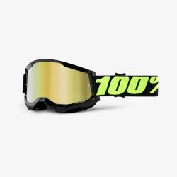 100% okuliare Strata 2 MX MTB Upsol zlaté zrkadlové sklá
