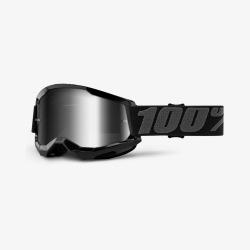 100% okuliare Strata 2 MX MTB Black strieborné zrkadlové sklá